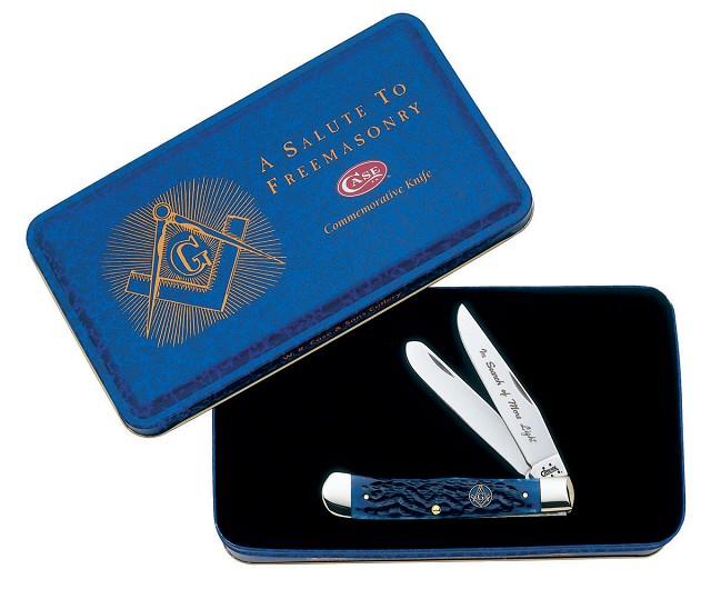 Case Masonic Blue Bone Trapper Knife in Gift Tin