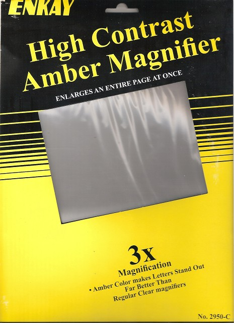 High Contrast Amber Magnifier Sheet
