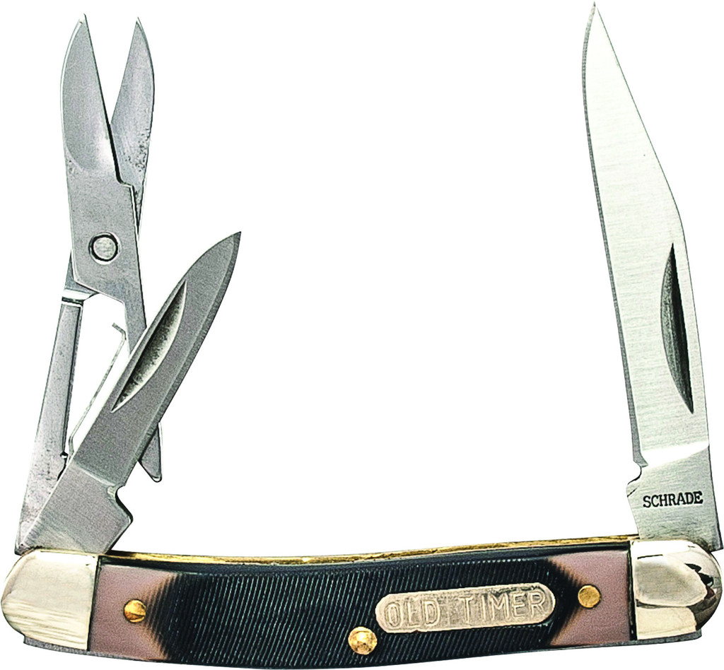 Schrade Old Timer Grandad S Pen Knife W Scissors Red