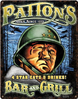 """Army """"Patton's Bar and Grill"""" Metal Sign"""