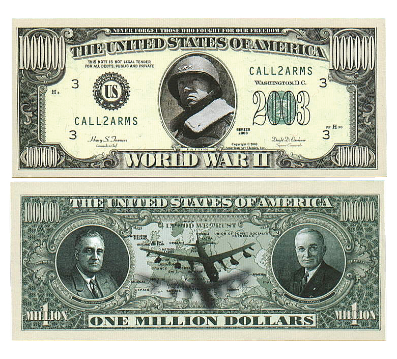 $1 Million World War II Patton Novelty Note