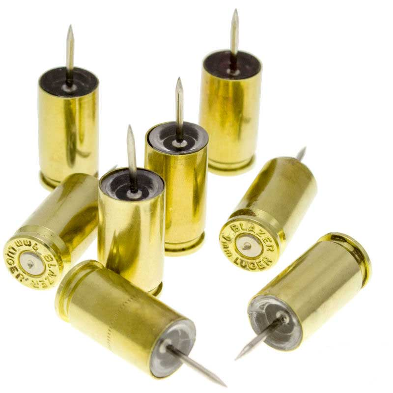 Lucky Shot 9 MM Bullet Casing Brass Push Pins (set of 6)