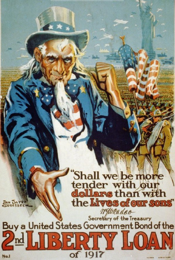 2nd Liberty Loan Uncle Sam 11 x 17 Poster in Sleeve