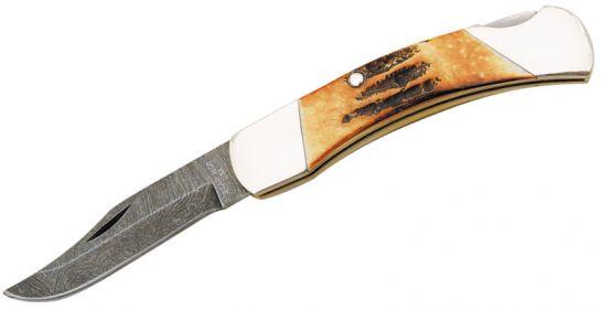 Bear Stag Bone Damascus Medium Lockback Knife