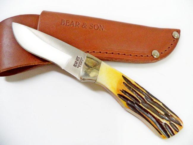Bear StagBone Skinner Hunter Knife w/ Sheath