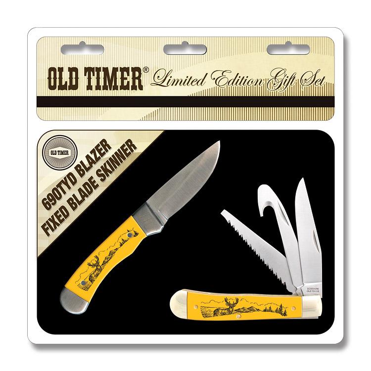 Schrade Old Timer Scrimshaw Trapper Amp Skinner Knife Set