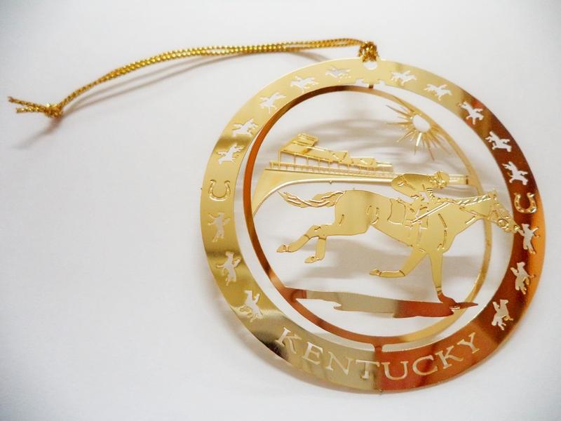 Kentucky Horse Farm Brass Souvenir 2.5in Ornament