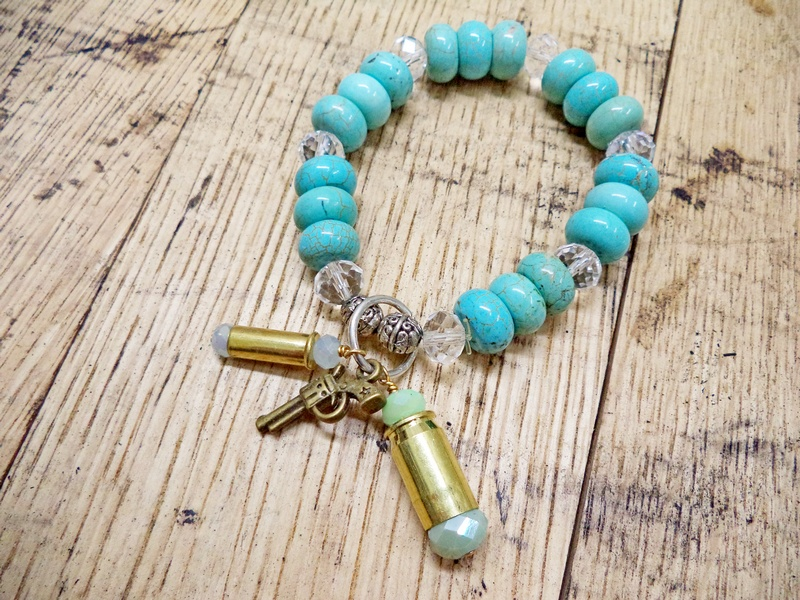 Gun Luxe Jewelry .22 Mag Ammo Turquoise Stretch Bracelet