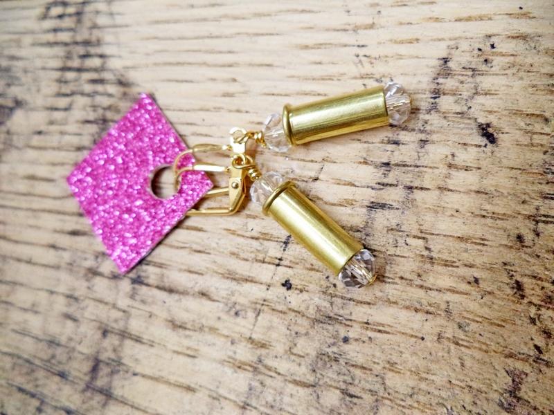 Gun Luxe Jewelry .380 Brass Casing Ammo Earring in Clear