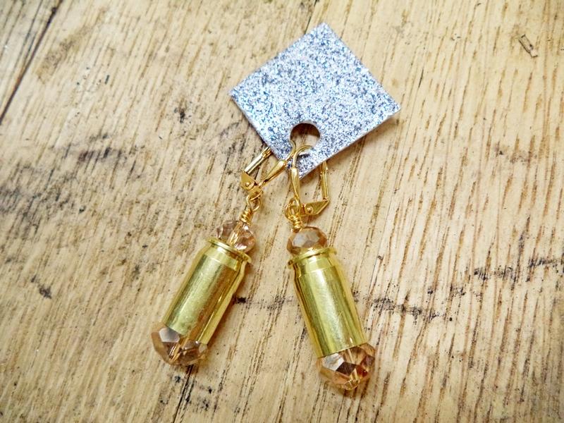 Gun Luxe Jewelry .380 Brass Casing Ammo Earring in Gold