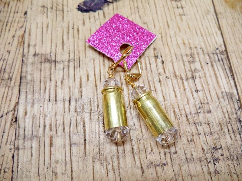 Gun Luxe Jewelry .380 Brass Casing Ammo Earring in Lavender