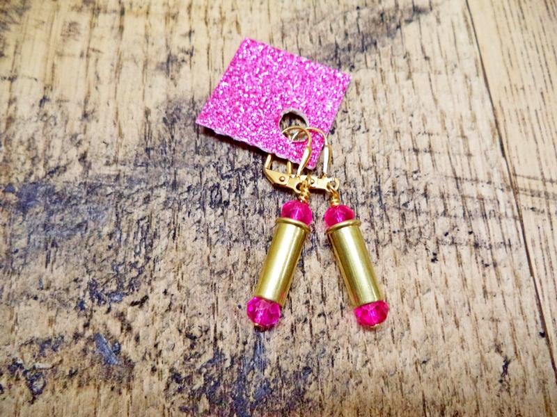 Gun Luxe Jewelry .22 Brass Short Casing Ammo Earring in Pink