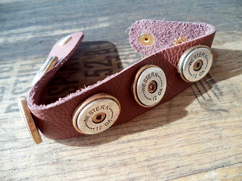12 Gauge Ammo Casing Leather Strap Bracelet