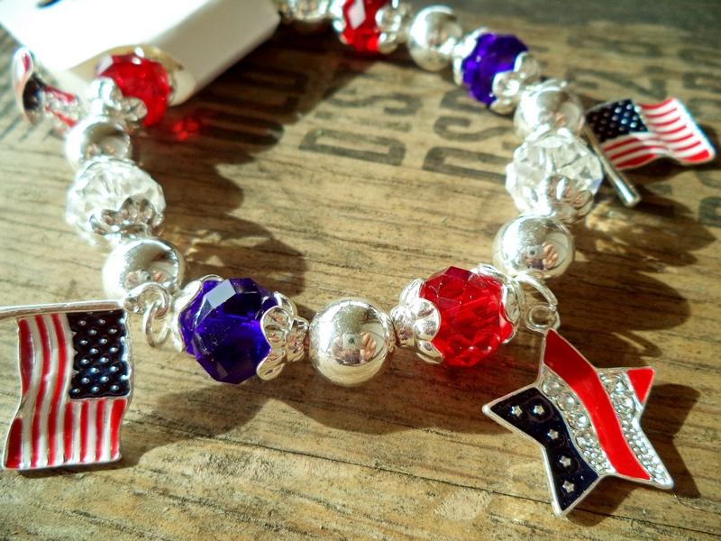 American Pride Red White & Blue Charm Bracelet