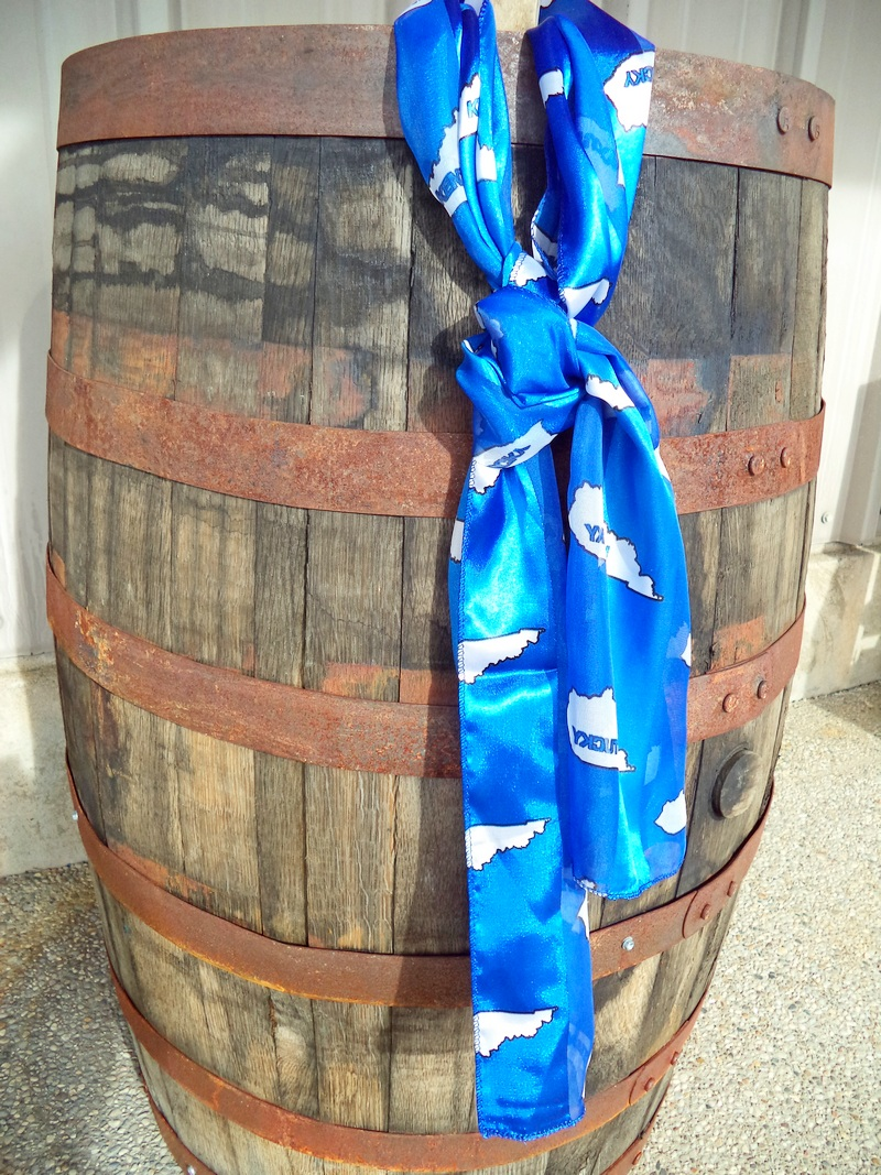 Kentucky Outline Blue & White Scarf