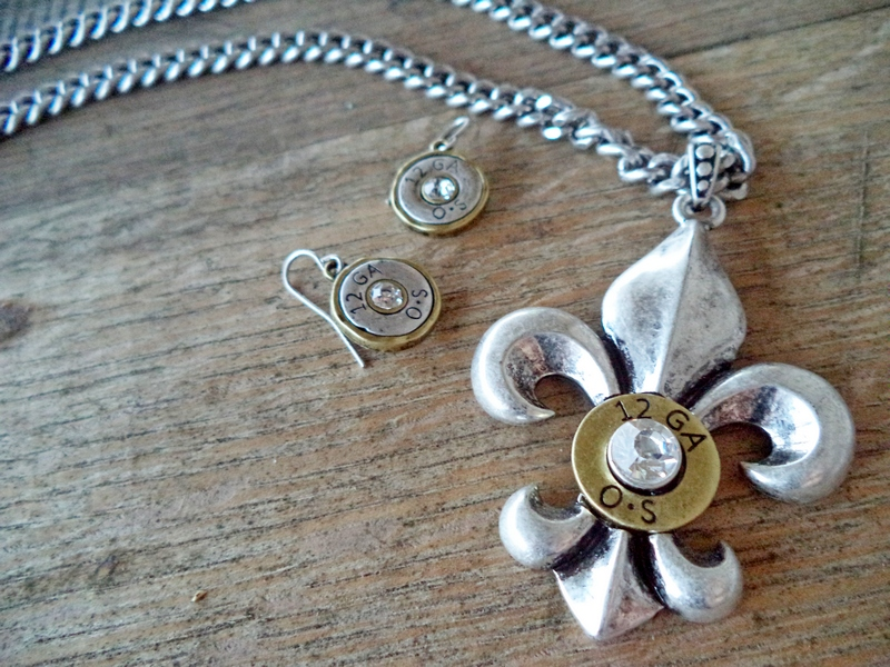 Fleur De Lis 12 Gauge Necklace & Earring Set
