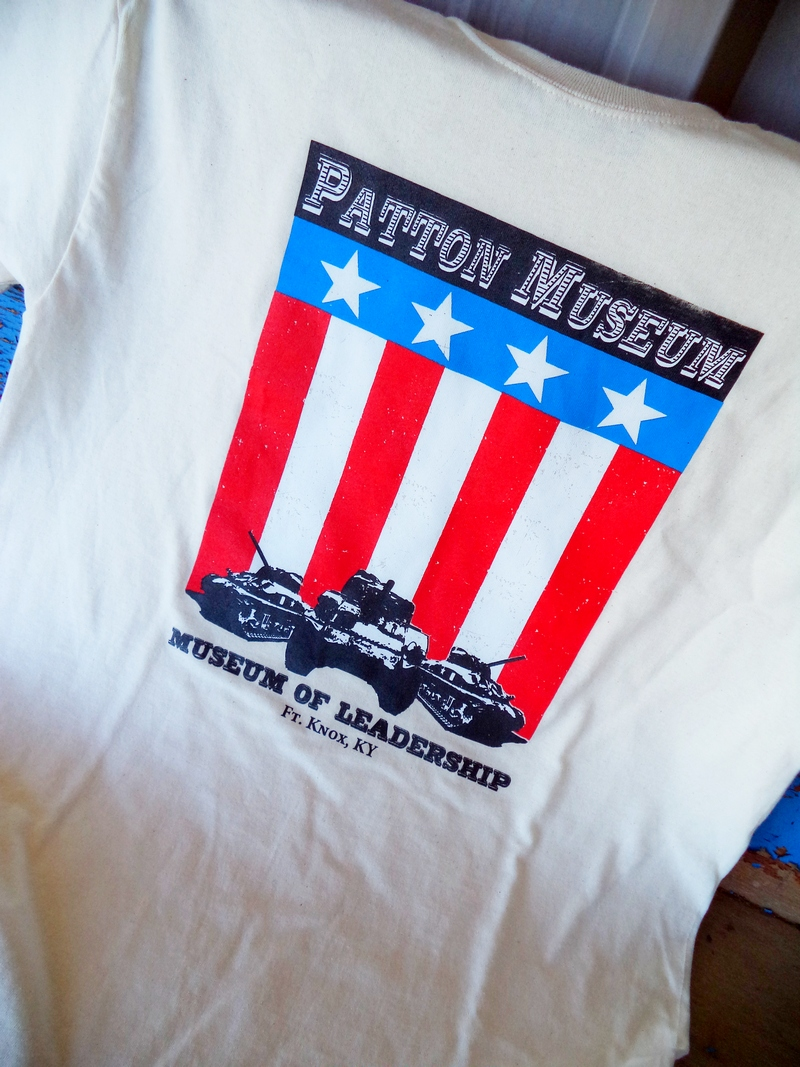 Patton Museum American Flag Vintage Natural Adult Shirt