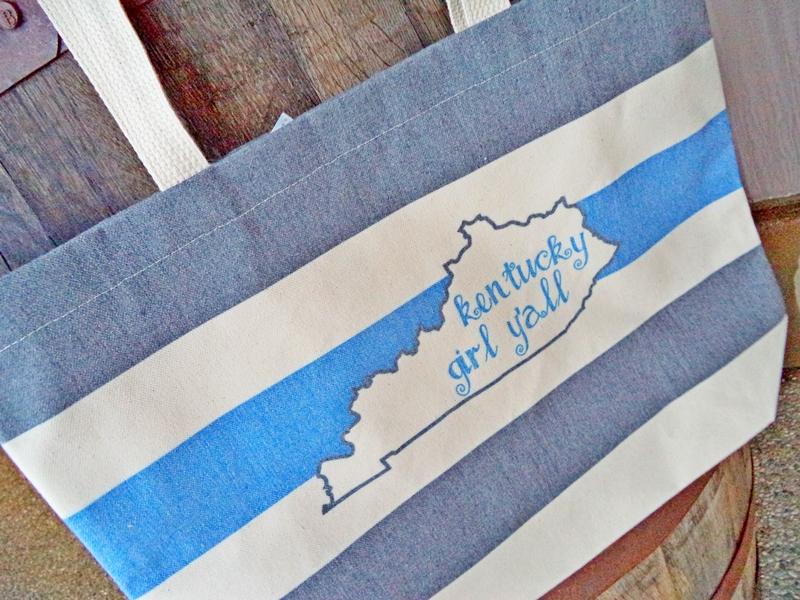Kentucky Girl Y'all Stripe Canvas Tote Souvenir Bag