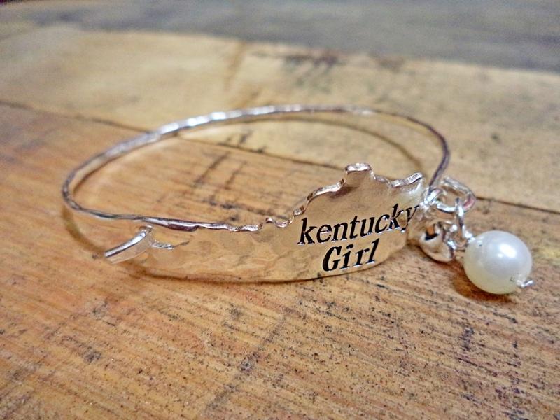 Kentucky Girl Charm Silver Hook Bracelet   Red Hill Cutlery