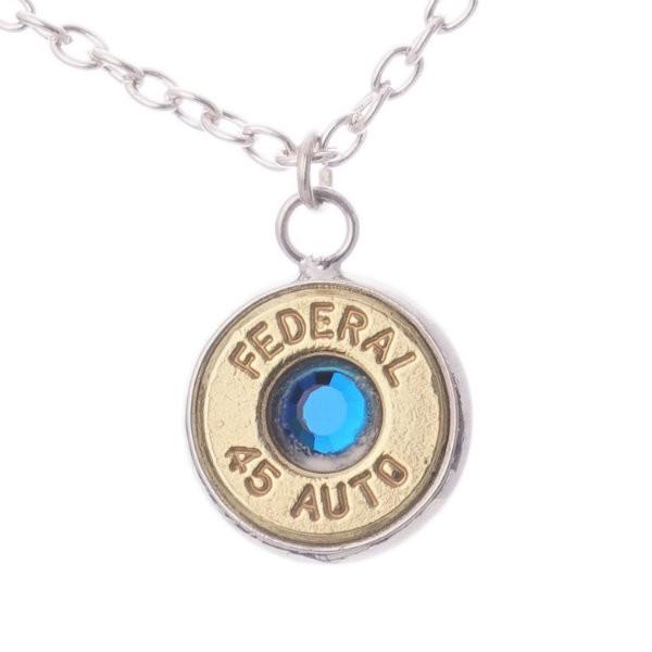 Lucky Shot 45 Caliber Bullet Pendant Necklace – Sapphire
