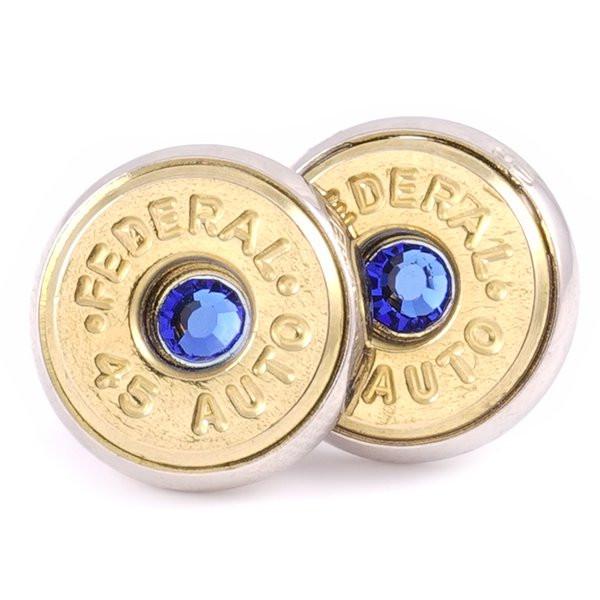 Lucky Shot 45 Caliber Bullet Earrings – Sapphire