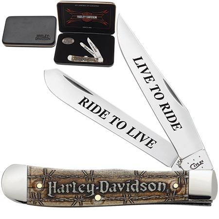 Case Harley-Davidson® Carved Bone Trapper Knife