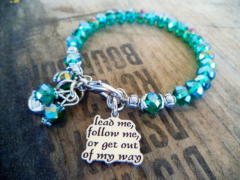 """""""Lead Me Follow Me"""" Emerald Green Bracelet"""