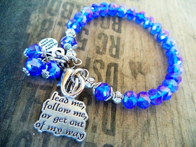 """""""Lead Me Follow Me"""" Sapphire Blue Bracelet"""