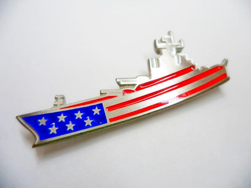 American Flag Battleship Flag Pewter Pin