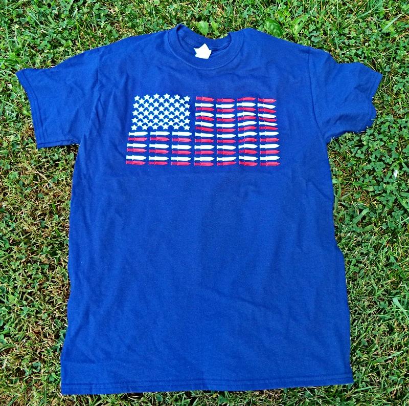 Red Hill Cutlery Stars & Blades Knife Flag Navy Blue Shirt