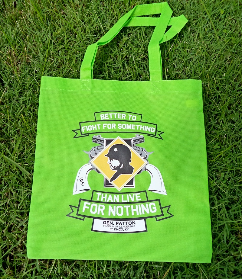 """Patton Museum """"Fight for Something"""" Lime Souvenir Bag"""