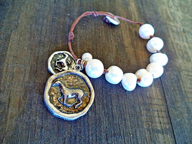 Horse Coin Vintage Pearl Bracelet
