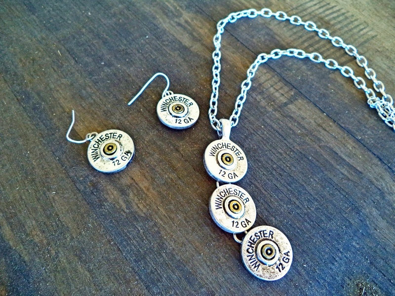12 Gauge Ammo Silver Necklace & Earrings Set