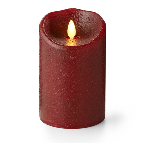 Luminara Rio Red Country Pillar 5in Flameless Candle