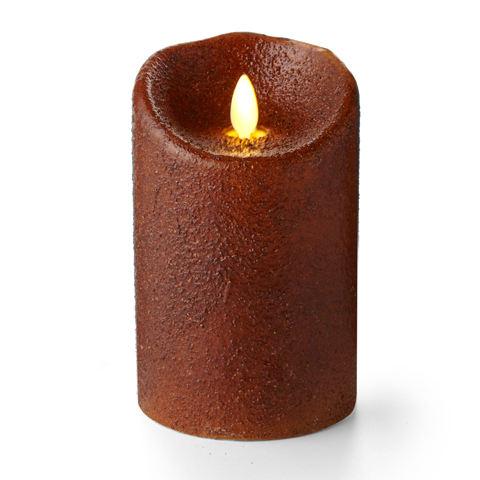 Luminara Yam Country Pillar 5in Flameless Candle