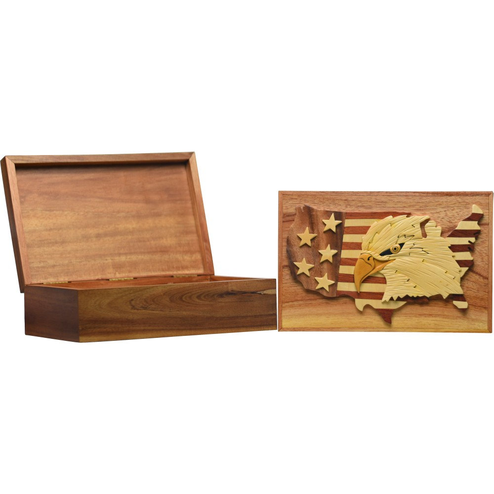 Eagle USA Map Wood Intarsia Display Box