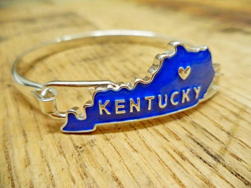 Kentucky Blue Heart Silver Hook Bracelet
