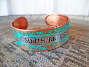 Southern Girl Brass Green Cuff Bracelet