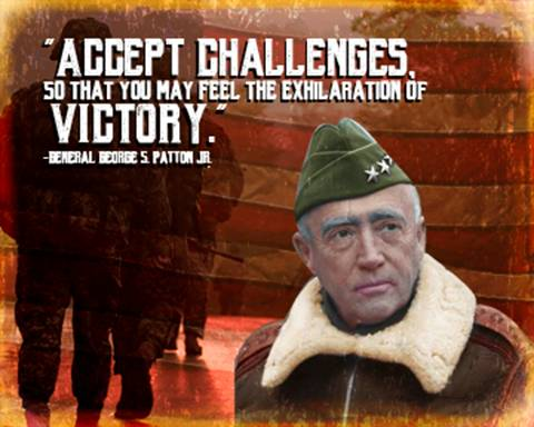 """Patton """"Accept the Challenges"""" Metal Sign"""