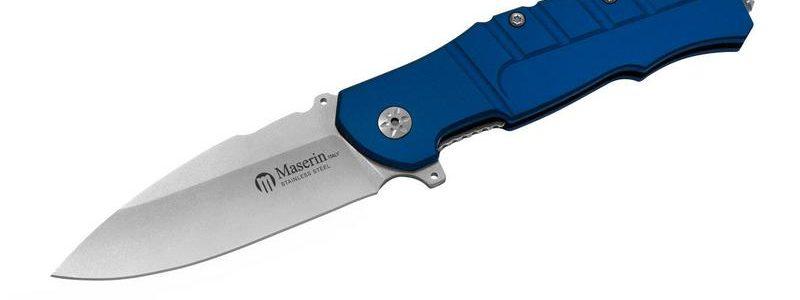 Maserin Blue Aluminum Pitbull Flipper Knife