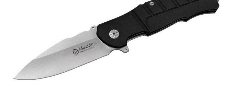 Maserin Black Aluminum Pitbull Flipper Knife