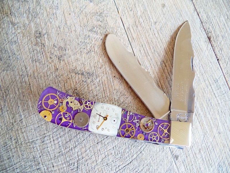 Remington Custom Purple Steampunk Jumbo Trapper Knife