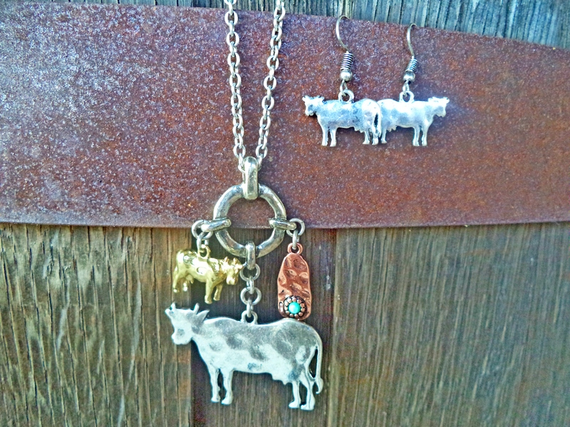 Silver Cow Farmer Vintage Necklace & Earring Set