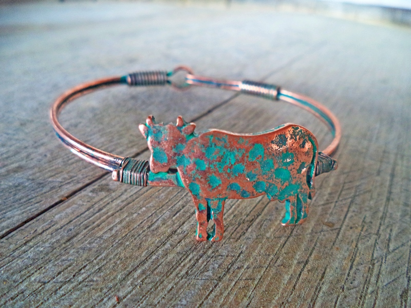 Vintage Brass Cow Hook Bracelet