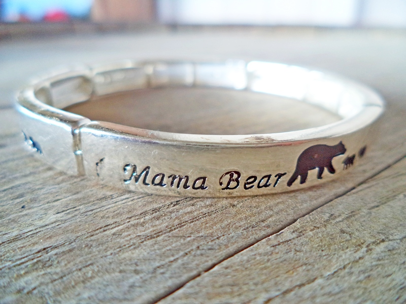 Mama Bear Silver Stretch Bracelet