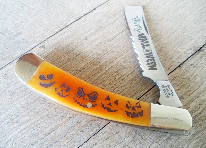 Bear Halloween Orange Bone 1-Blade Razor Knife