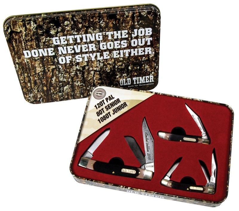 Schrade Old Timer 3 Brown Sawcut Knife Gift Tin Set