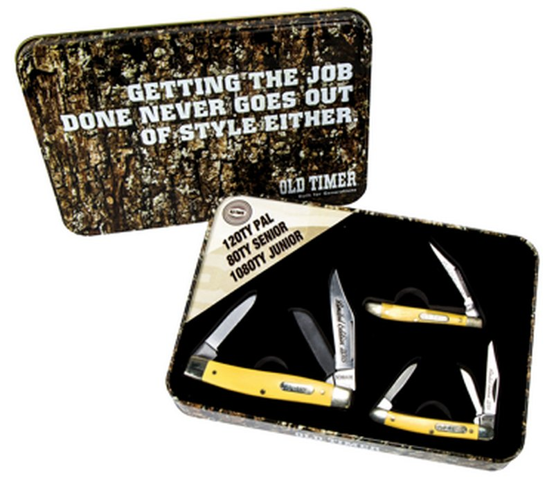 Schrade Old Timer 3 Yellow Delrin Knife Gift Tin Set