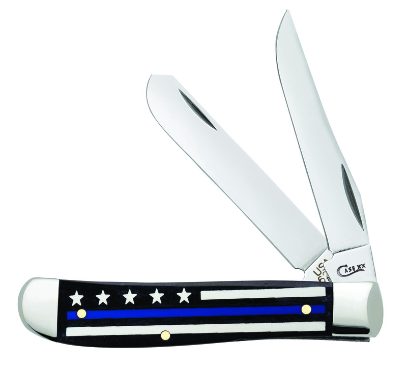 Case Police Blue Line Natural Bone Mini Trapper Knife