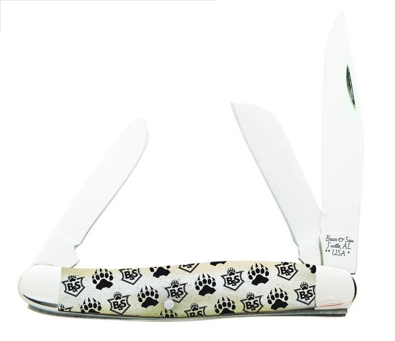 Bear Branded Bone Large Stockman Knife